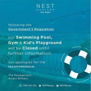 Social Media - Signage Nest 2021 - Swimming Pool, Gym, & Kids Playground Closed